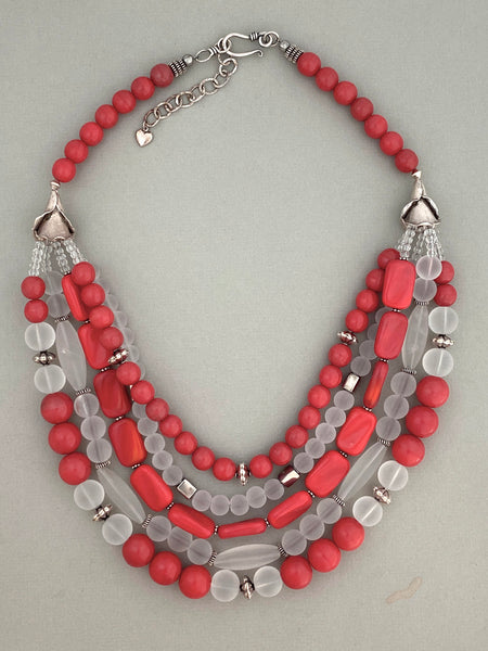 Multi-Strand Vintage Coral Glass Statement Necklace