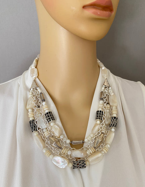 Mother of Pearl and Silver Statement Necklace