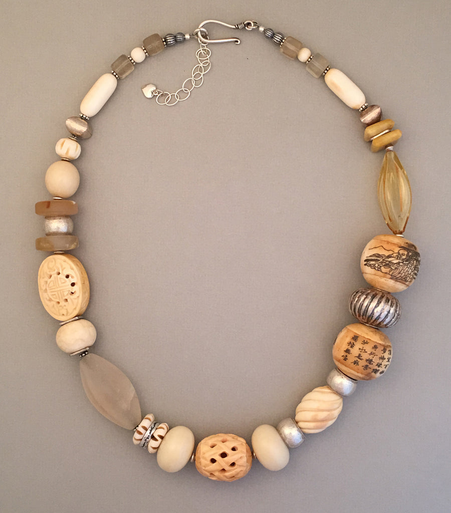 Hand Carved Beads and Silver Statement Necklace