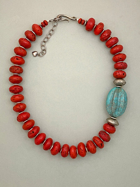Red and Turquoise Statement Necklace