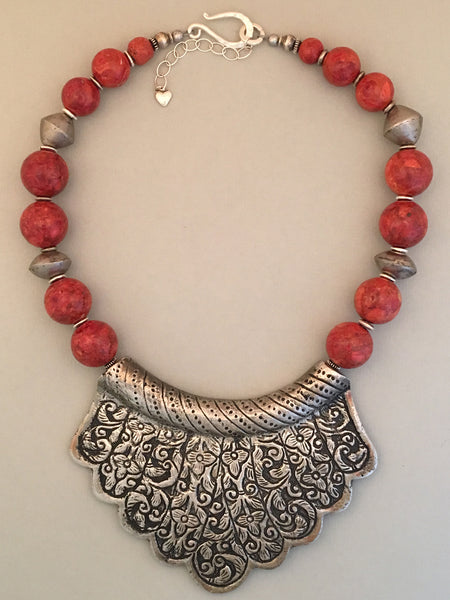 Red Coral Tibetan Statement Necklace
