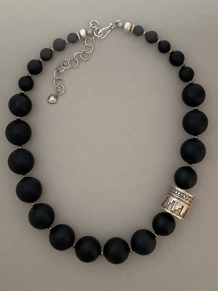 Matte Black Onyx Statement Necklace