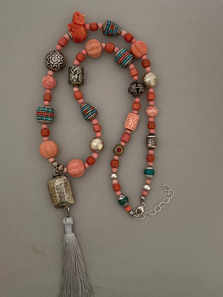 Long Mixed-Bead Coral Statement Necklace