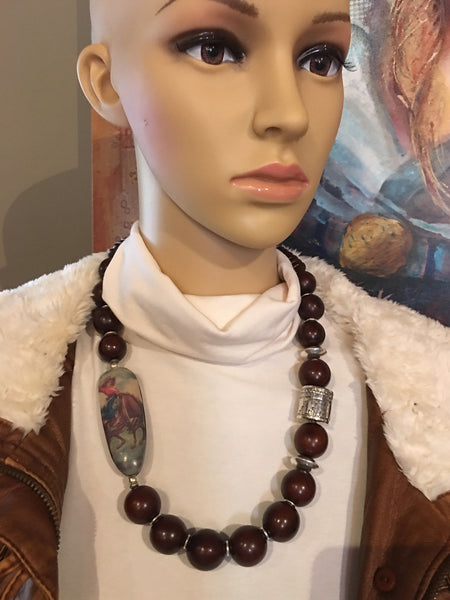Brown Tagua with Silver Statement Necklace