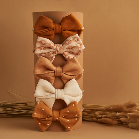 SET OF 5 | CAMILLA BOWS | GINGER - RAINBOW - BUTTERSCOTCH  VANILLA CRÉME - OCHRE DOTTY