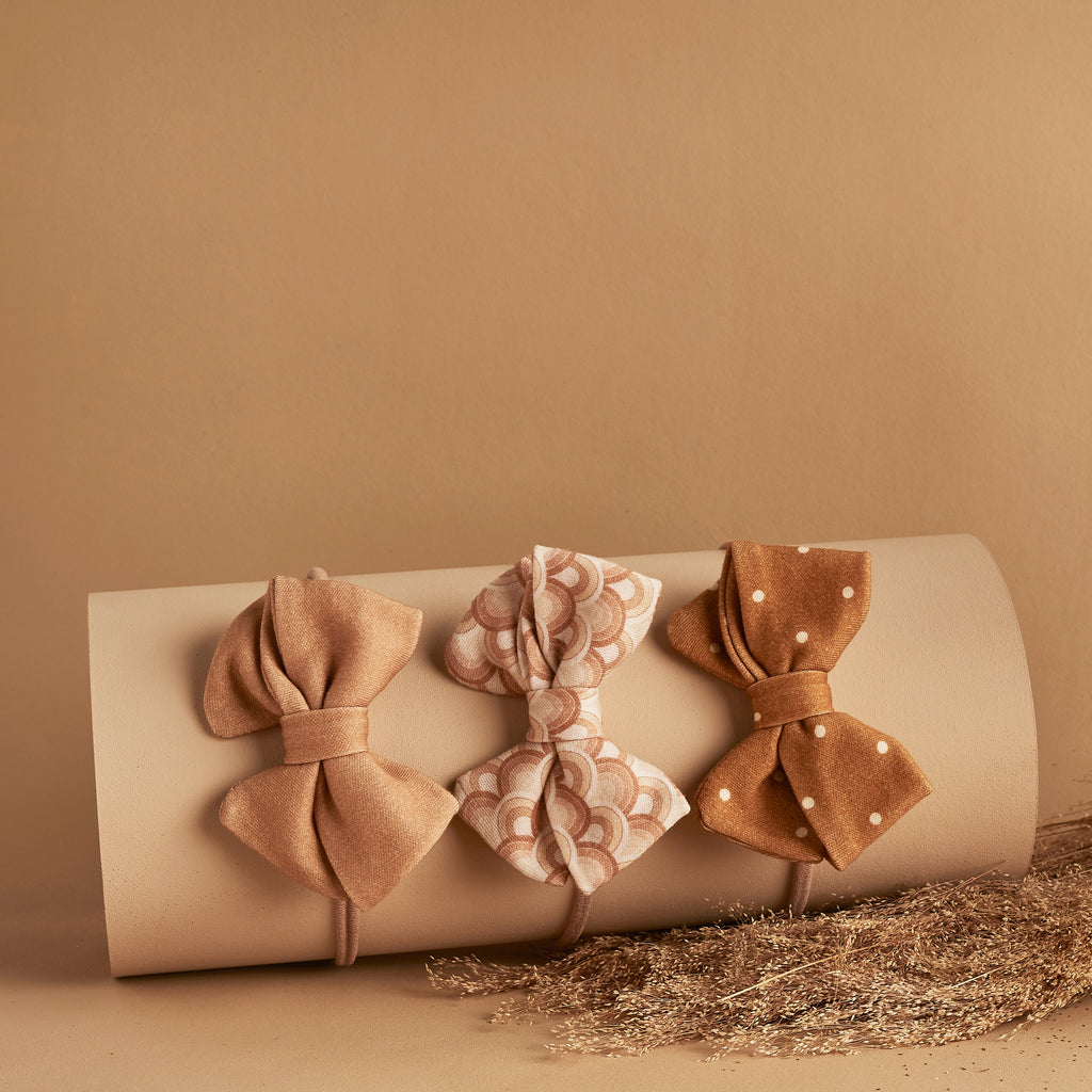 SET OF 3 | PIPER BOWS | OCHRE DOTTY - RAINBOW - BUTTERSCOTCH