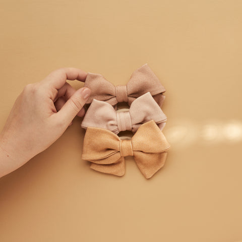 SET OF 3 | CAMILLA BOWS | TEA - WILD ASTER SOLID - BUTTERSCOTCH
