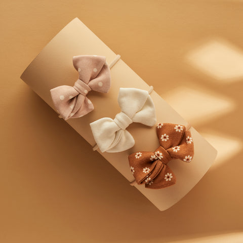 SET OF 3 | PIPER BOWS | WILD ASTER DOTTY - VANILLA CREME - DAISY