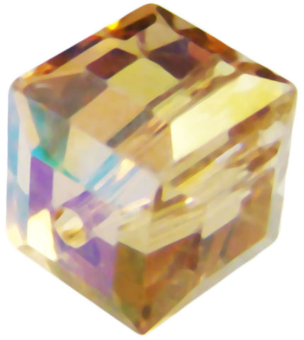 Swarovski Crystal Cube Bead - Light Colorado Topaz AB