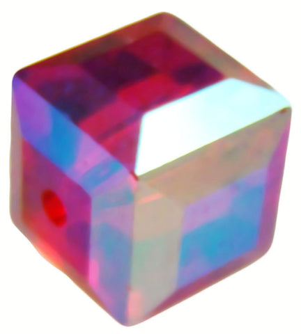 Swarovski Crystal Cube Bead - Light Siam AB