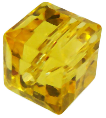 Swarovski Crystal Cube Bead - Light Topaz