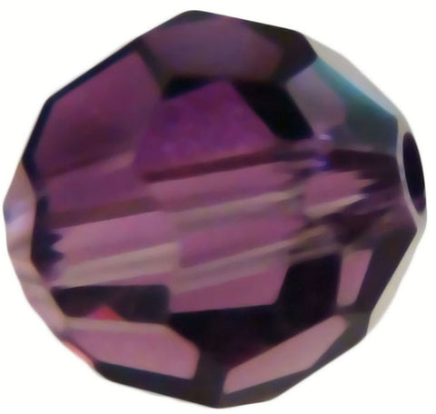 Swarovski Crystal Faceted Round - Amethyst/Crystal Blend
