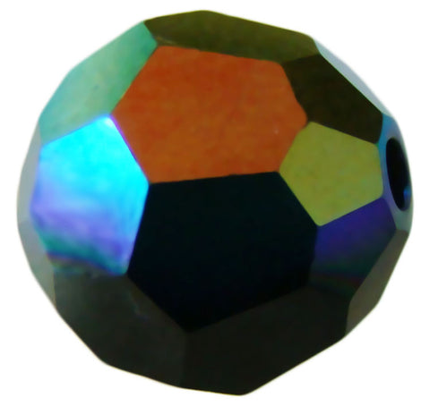 Swarovski Crystal Faceted Round - Jet AB