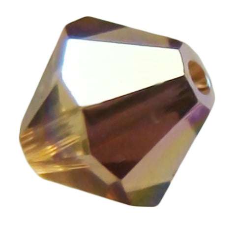 Swarovski Crystal Bicone - Light Smoked Topaz AB