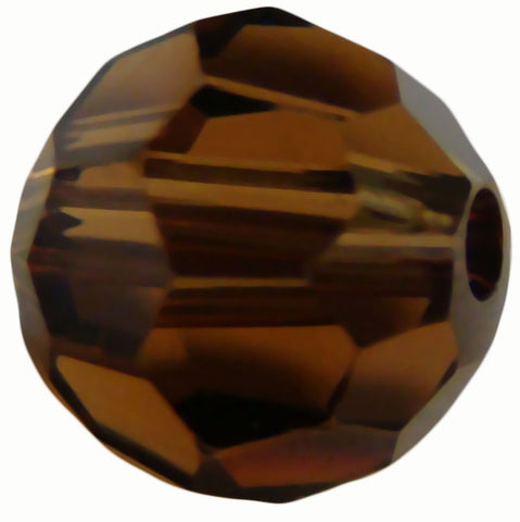 Swarovski Crystal Faceted Round - Smoked Topaz