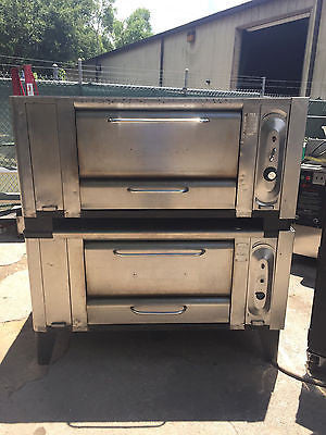 DOUBLE STACK BLODGETT 1000 PIZZA OVENS GAS