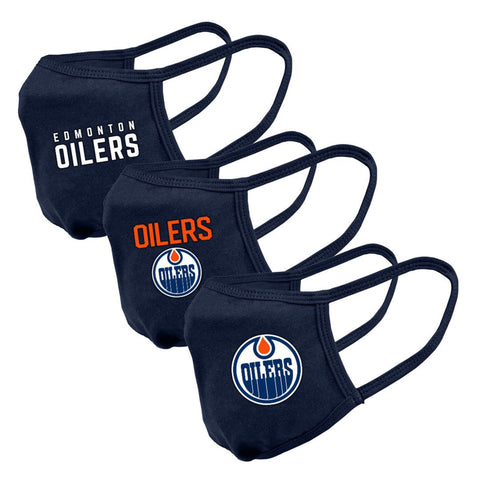 Youth Edmonton Oilers NHL 3-pack Reusable Team Logo Face Masks