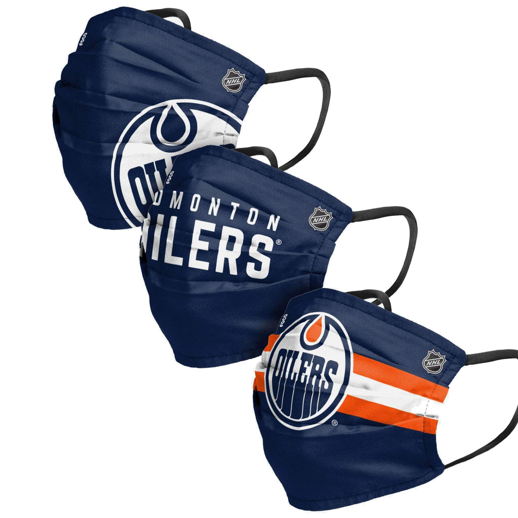 Unisex Edmonton Oilers NHL 3-pack Reusable Pleated Matchday Face Covers