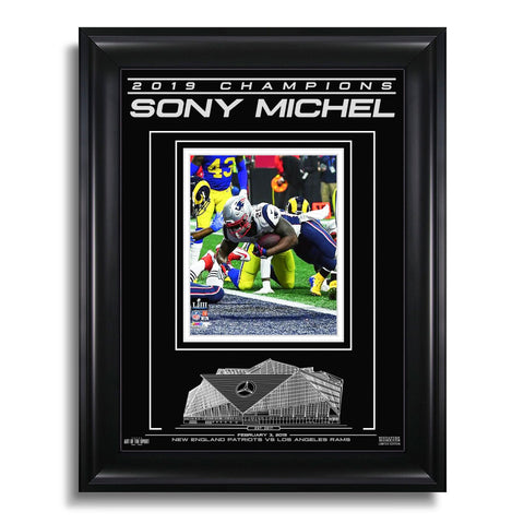 New England Patriots NFL Super Bowl LIII Champions Engraved Framed Photo - Sony Michel Winning Moment
