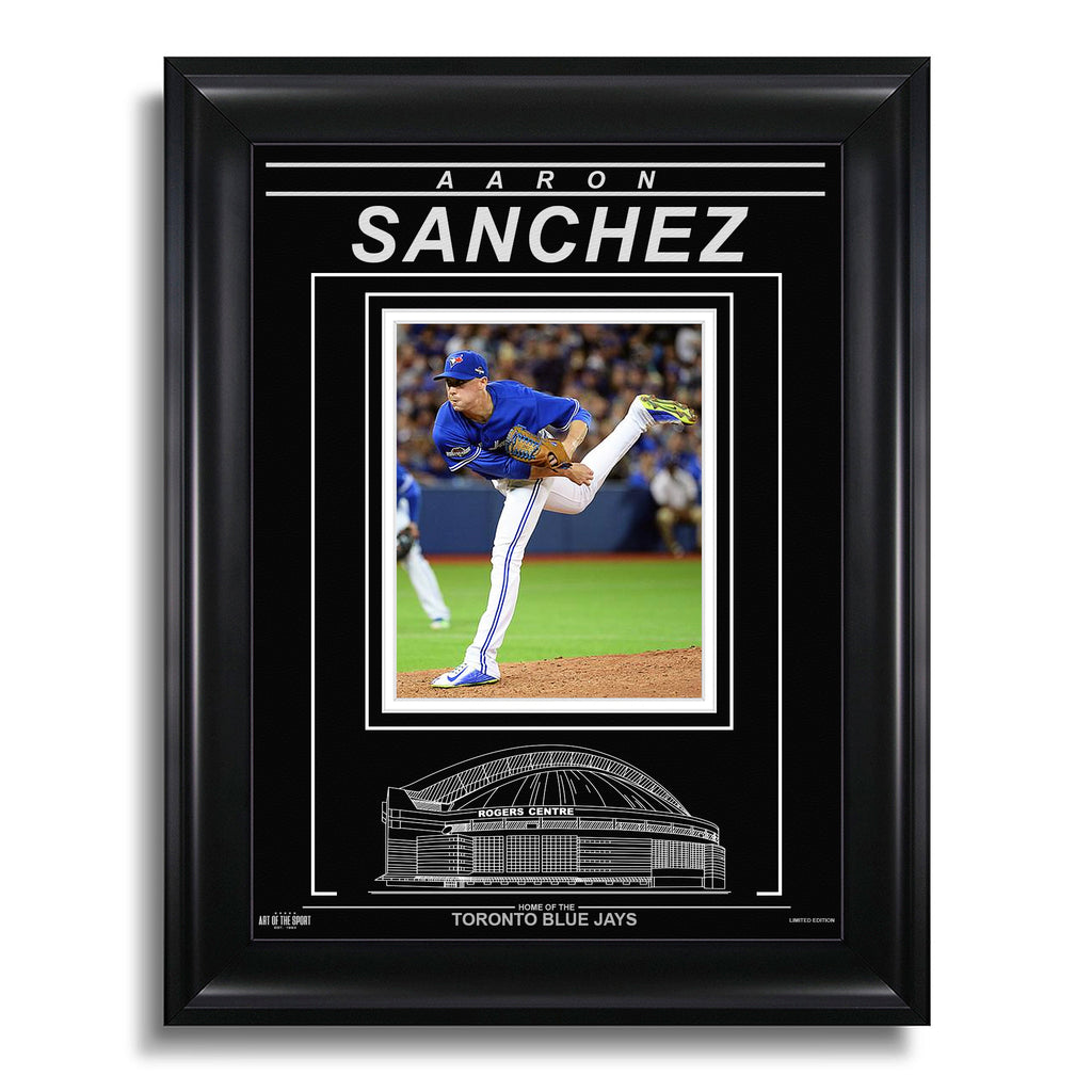 Aaron Sanchez Toronto Blue Jays Engraved Framed Photo - Action Pitch Horizontal