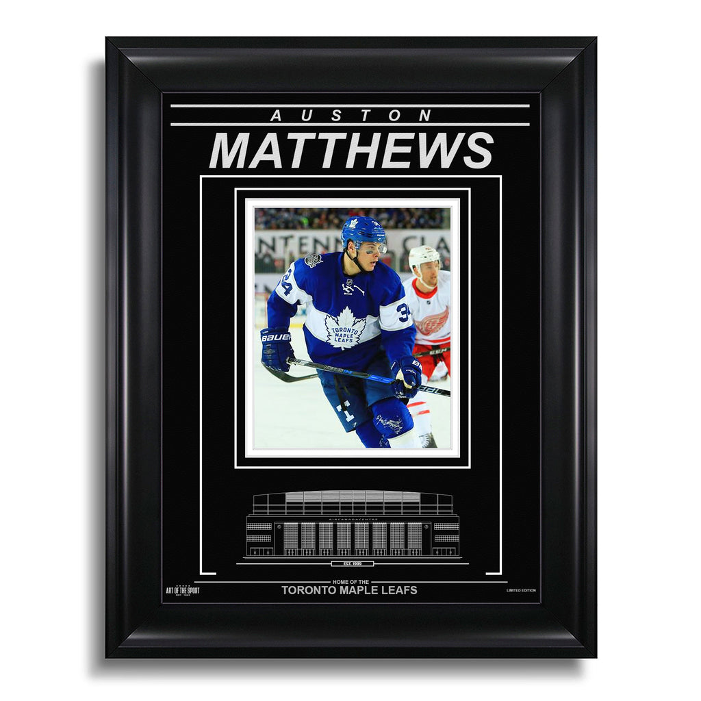 Auston Matthews Toronto Maple Leafs Engraved Framed Photo - Centennial Classic