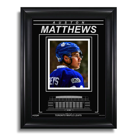 Auston Matthews Toronto Maple Leafs Engraved Framed Photo - Closeup