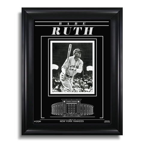 Babe Ruth New York Yankees Engraved Framed Photo - Action Hit