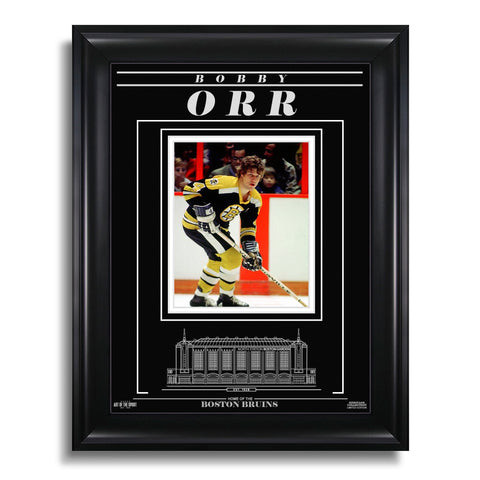 Bobby Orr Boston Bruins Engraved Framed Photo - Action