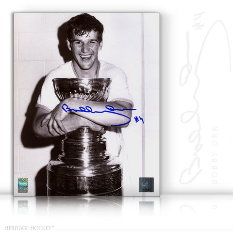 BOBBY ORR AUTOGRAPHED SIGNED STANLEY CUP CHAMPION 11X14 PHOTO - BOSTON BRUINS