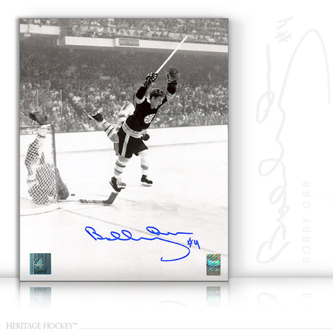 BOBBY ORR AUTOGRAPHED SIGNED VERTICAL WINNING GOAL 11X14 PHOTO - BOSTON BRUINS