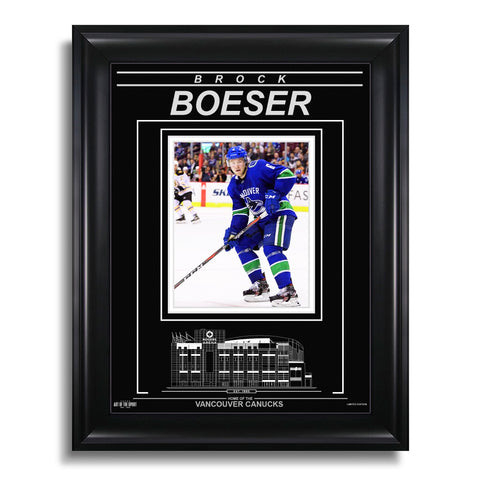 Brock Boeser Vancouver Canucks Engraved Framed Photo - Action