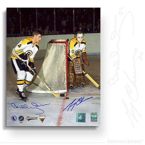 BOBBY ORR & GERRY CHEEVERS DUAL AUTOGRAPHED SIGNED LEGENDS 16X20 PHOTO - BOSTON BRUINS