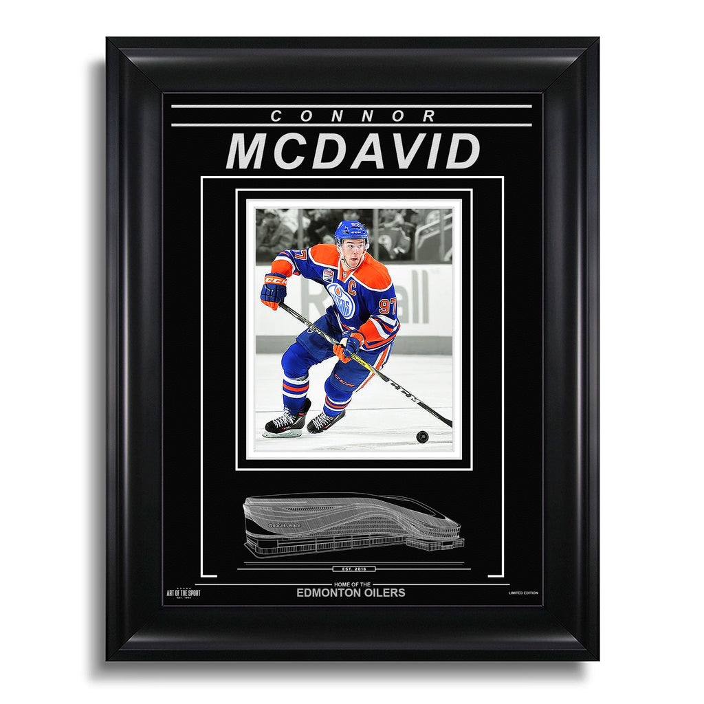 Connor McDavid Edmonton Oilers Engraved Framed Photo - Action Captain Spotlight