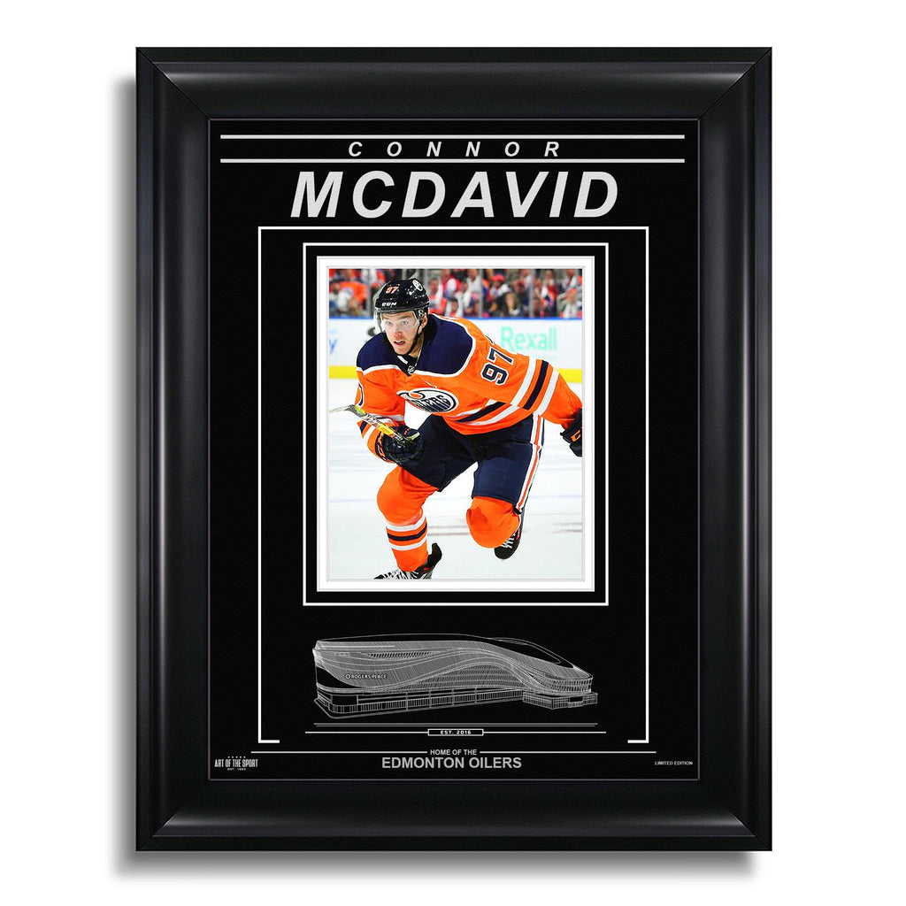Connor McDavid Edmonton Oilers Engraved Framed Photo - Action Skating