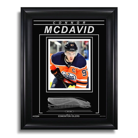 Connor McDavid Edmonton Oilers Engraved Framed Photo - Captain Closeup