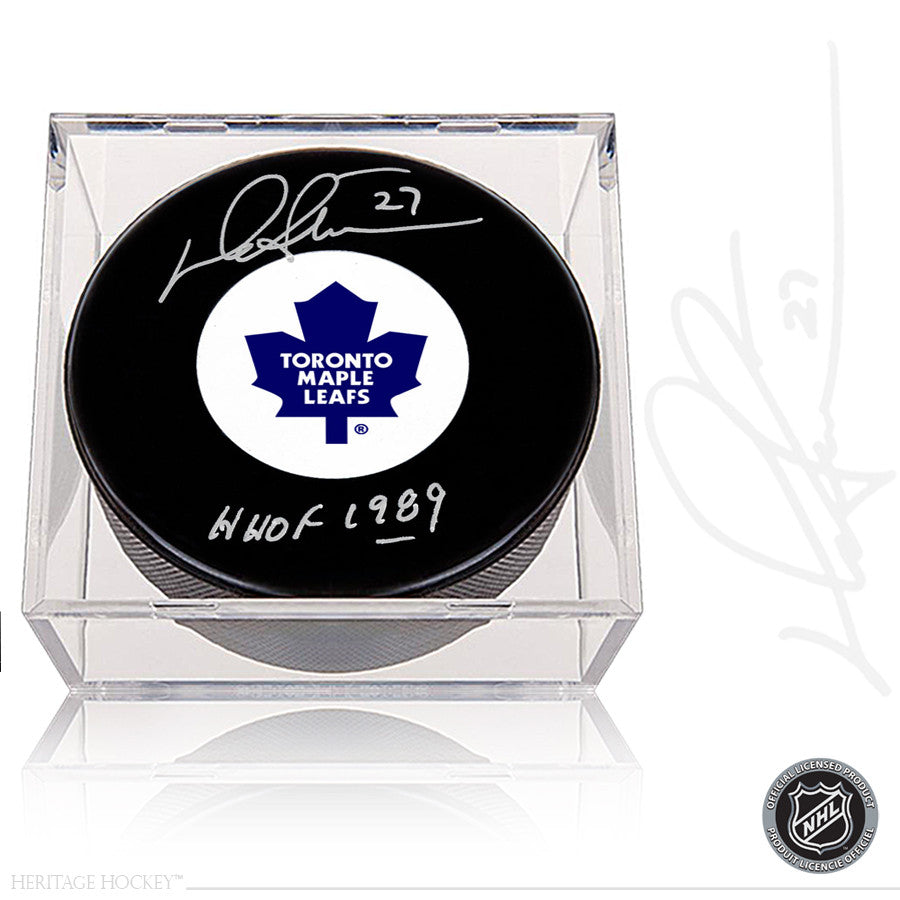 DARRYL SITTLER AUTOGRAPHED SIGNED TORONTO MAPLE LEAFS PUCK WITH HOF 1989 NOTE