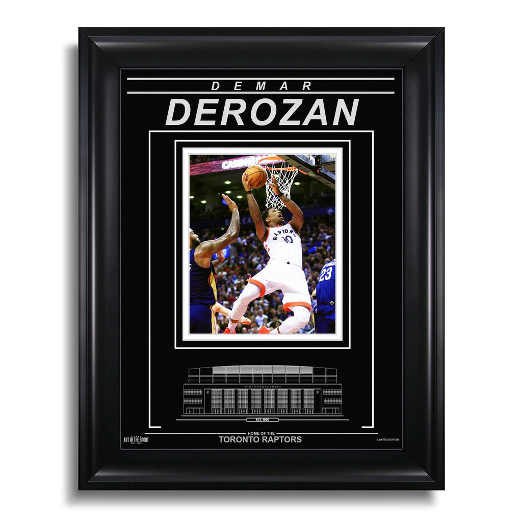 DeMar DeRozan Toronto Raptors Engraved Framed Photo - Action Airborne