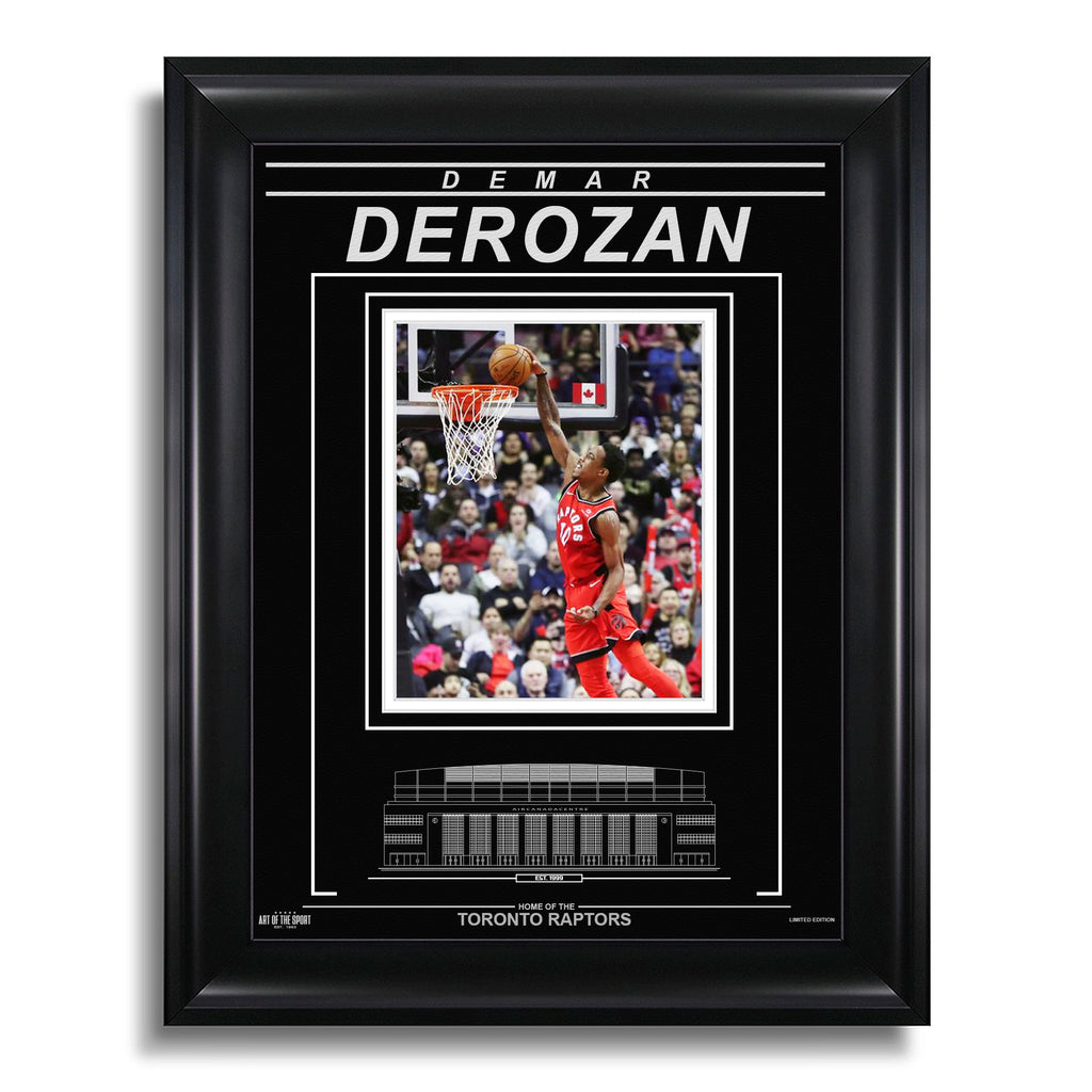 DeMar DeRozan Toronto Raptors Engraved Framed Photo - Action Dunk