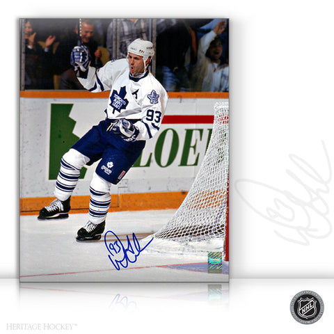 DOUG GILMOUR AUTOGRAPHED SIGNED GOAL CELEBRATION 8X10 PHOTO - TORONTO MAPLE LEAFS
