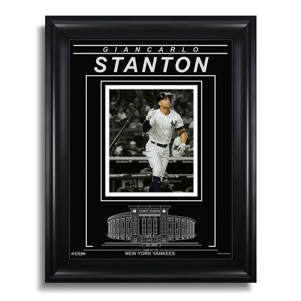 Giancarlo Stanton New York Yankees Engraved Framed Photo - Action