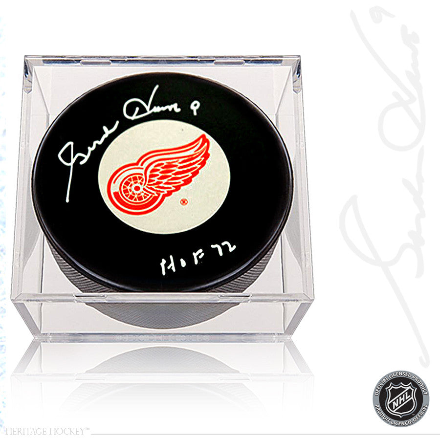 GORDIE HOWE AUTOGRAPHED SIGNED DETROIT RED WINGS PUCK WITH HOF 1972 NOTE