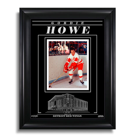 Gordie Howe Detroit Red Wings Engraved Framed Photo - Action