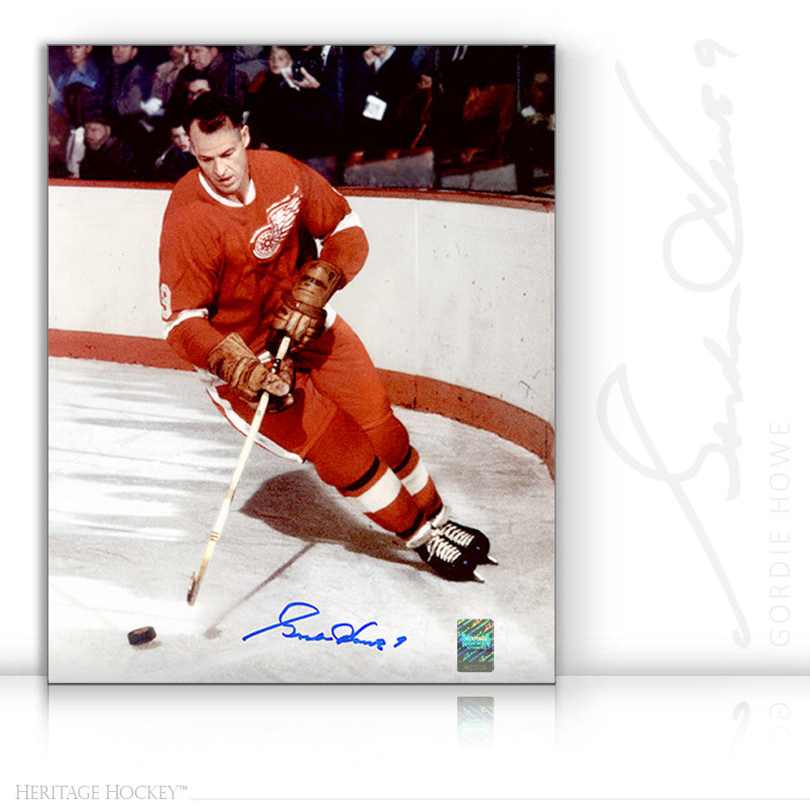 GORDIE HOWE AUTOGRAPHED SIGNED ORIGINAL SIX LEGEND 16X20 PHOTO - DETROIT RED WINGS