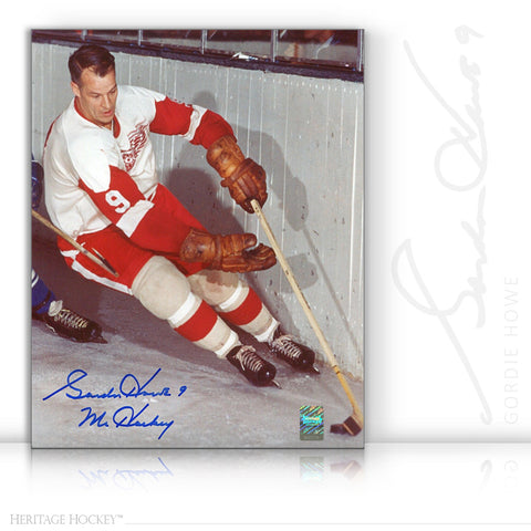 GORDIE HOWE AUTOGRAPHED SIGNED ACTION 8X10 PHOTO - DETROIT RED WINGS