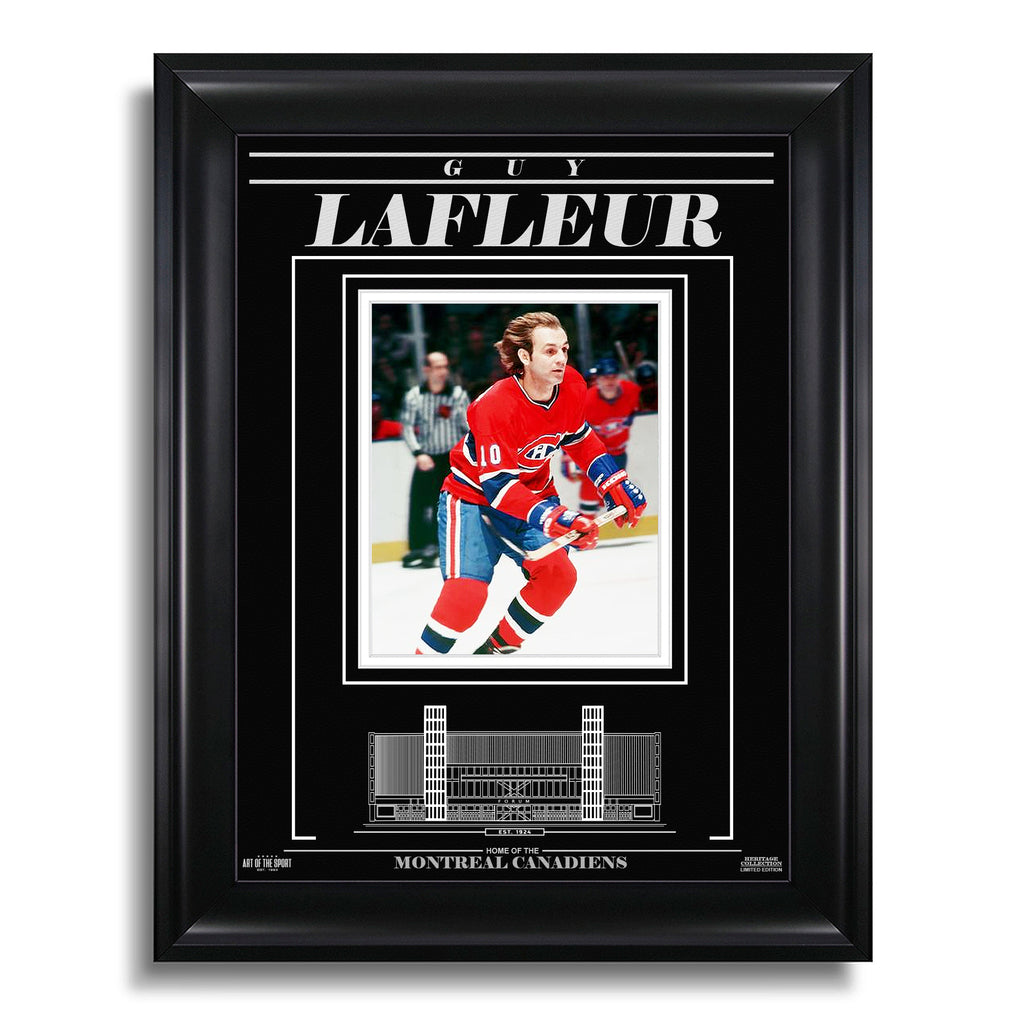 Guy Lafleur Montreal Canadiens Engraved Framed Photo - Action