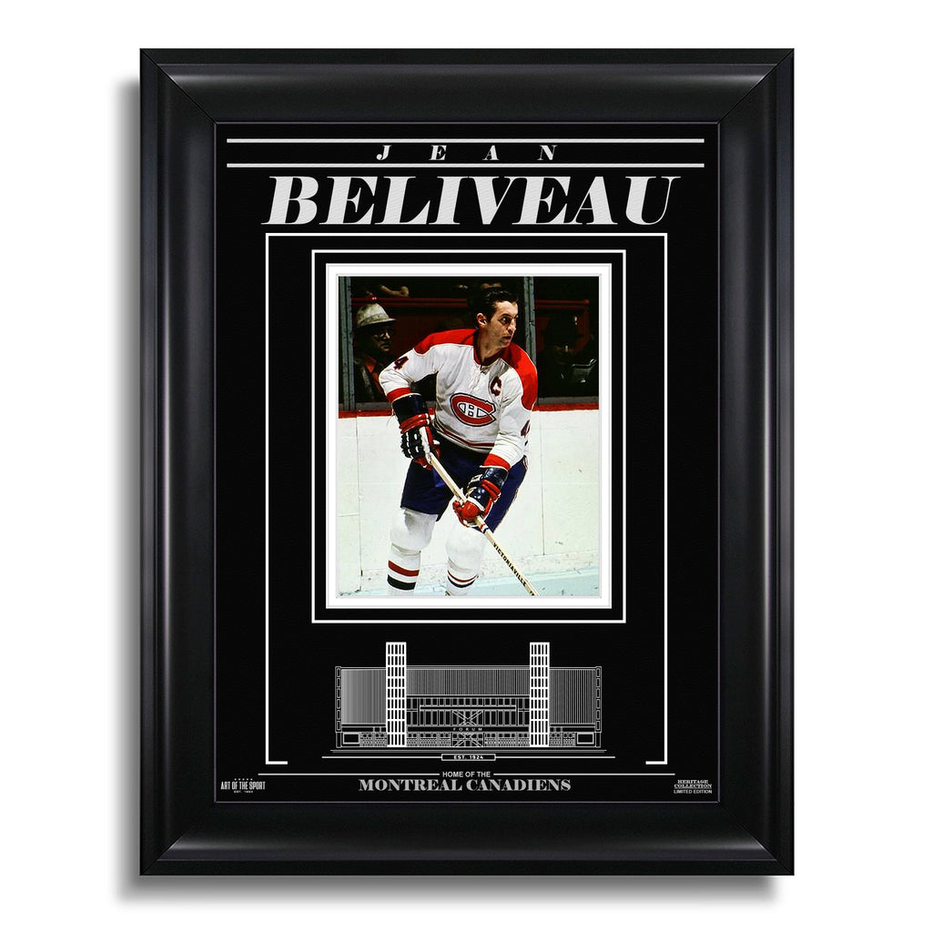 Jean Beliveau Montreal Canadiens Engraved Framed Photo - Action