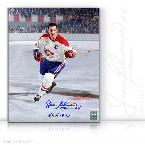 JEAN BELIVEAU AUTOGRAPHED SIGNED CAPTAIN ACTION 11X14 PHOTO - MONTREAL CANADIENS