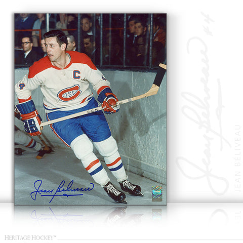 JEAN BELIVEAU AUTOGRAPHED SIGNED ACTION 8X10 PHOTO - MONTREAL CANADIENS