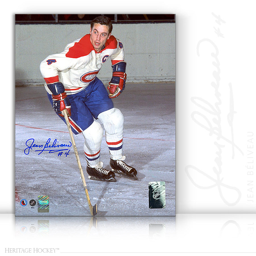 JEAN BELIVEAU AUTOGRAPHED SIGNED ORIGINAL SIX ACTION 8X10 PHOTO - MONTREAL CANADIENS