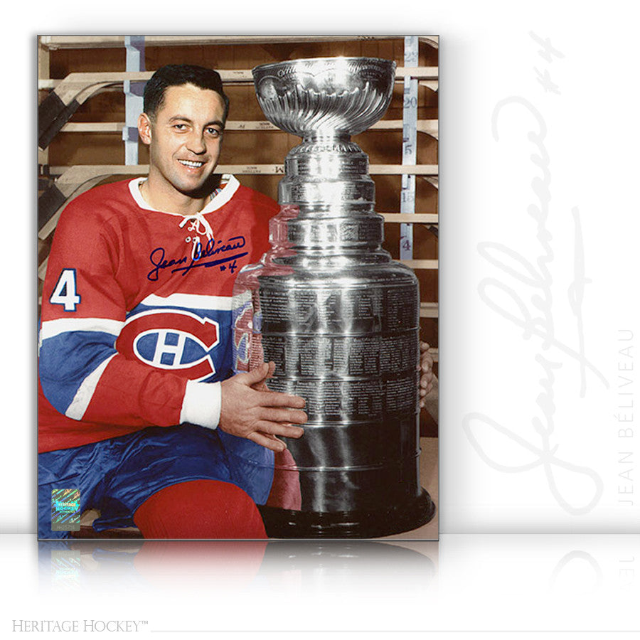 JEAN BELIVEAU AUTOGRAPHED SIGNED STANLEY CUP 8X10 PHOTO - MONTREAL CANADIENS
